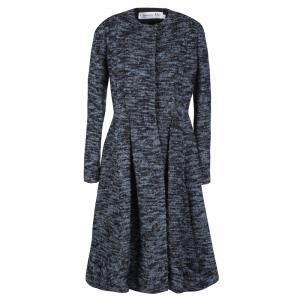 Dior Blue and Black Textured Coat Dress M
