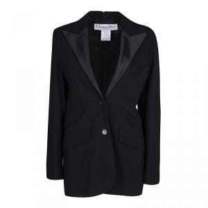 Dior Black Silk Lapel Detail Tailored Blazer S