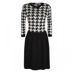 Dior Monochrome Houndstooth Pattern Wool Dress M