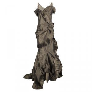 Dior Boutique Brown Pleated Ruffle Detail Sleeveless Tiered Evening Gown S used