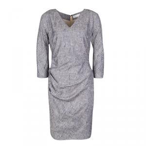 Dior Navy Blue Textured Silk Ruched V-Neck Dress M
