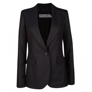 Dior Black and Blue Striped Wool Tailored Blazer S