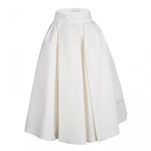 Dior Off White Gathered Cotton Blend Tulle Underlay Dirndl Midi Skirt S