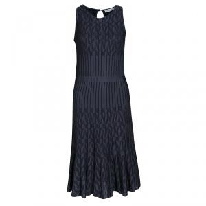 Dior Grey Patterned Jaquard Rib Knit Sleeveless Fit and Flare Dress M