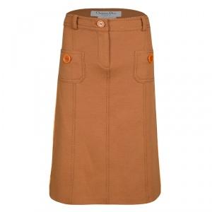 Dior Burnt Orange Velvet Panel Detail Skirt M
