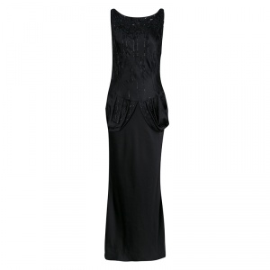 Dior Black Embellished Draped Sleeveless Gown M - used