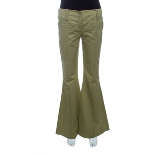 Dior Boutique Vintage Khaki Green Cotton and Linen Flared Pants S