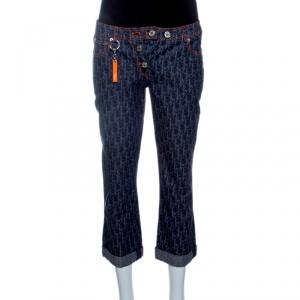 Dior Flight Line Indigo Logo Printed Denim Three Quarter Pants S