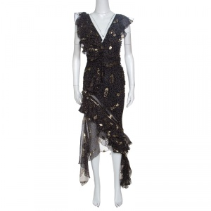 Dior Navy Blue Lurex Detail Ruffled Dotted Asymmetric Dress S