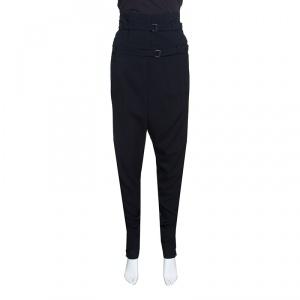Dior Black Crepe Silk Trim High Waist Fold Over Pants M