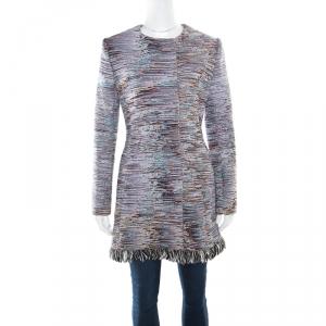 Dior Multicolor Cotton Textured Frayed Hem Dress Coat L