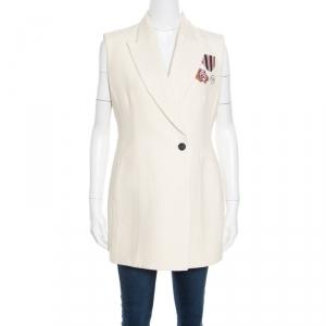 Dior Cream Silk and Wool Applique Detail Sleeveless Coat L