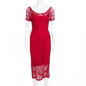 Christian Dior Red Crochet Knit Silk Lined Scalloped Midi Dress M