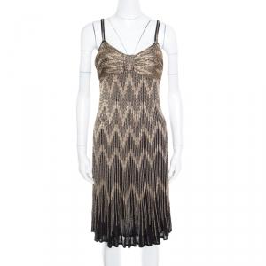 Christian Dior Gold Lurex Chevron Patterned Knit Noodle Strap Ombre Dress M