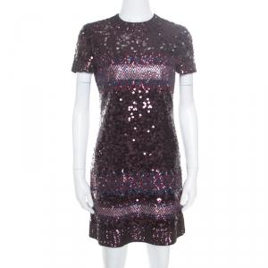 Dior Multicolor Aztec Sequin Embellished Short Sleeve Dress S - used
