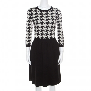 Dior Monochrome Houndstooth Paneled Wool Dress S - used
