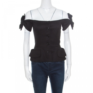 Christian Dior Black Stretch Cotton Eva Off Shoulder Bustier Jacket S