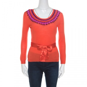 Dior Orange Wool and Silk Crochet Neck Detail Belted Sweater M - used