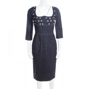 Dior Indigo Dark Wash Denim Bee Embellished Back Tie Detail Dress M - used