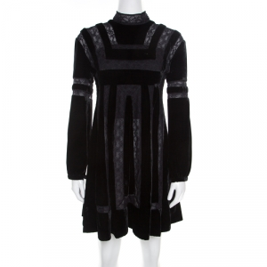 Dior Black Velvet and Lace Paneled Mini Dress M