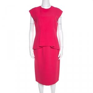 Dior Pink Silk Crepe Peplum Sleeveless Sheath Dress M - used