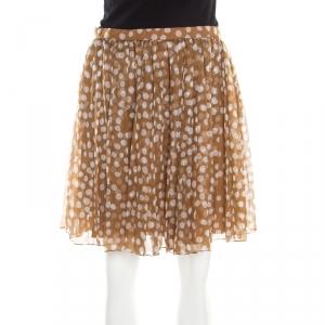 Dior Brown Polka Dotted Silk Chiffon Gathered Skirt M