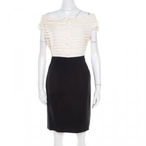 Christian Dior Bicolor Pleated Silk Bodice Off Shoulder Pencil Dress L - used