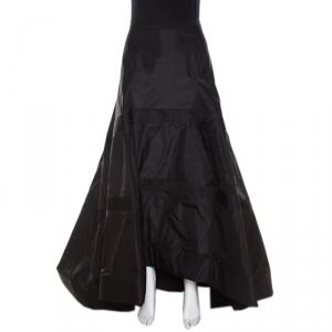 Dior Black Silk High Waist Mesh Insert Asymmetric Hem Flared Skirt S