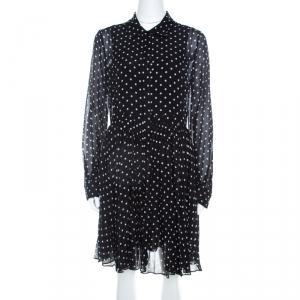 Dior Black and White Silk Polka Dot Pleated Dress M