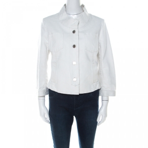 Dior Boutique White Cropped Denim Jacket L