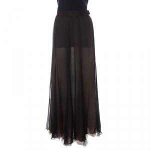 Christian Dior Vintage Black Chiffon Silk Layered Maxi Skirt L