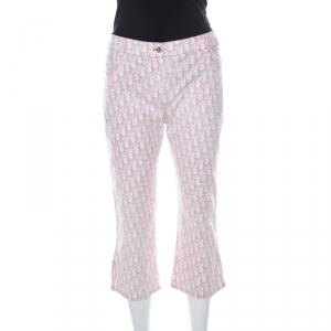 Dior Pink Monogram Denim Embellished Detail Cropped Pants L