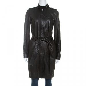 Dior Black Lambskin Belted Long Coat S