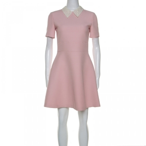Dior Pale Pink Wool Lace Collar Detail Flared Dress S