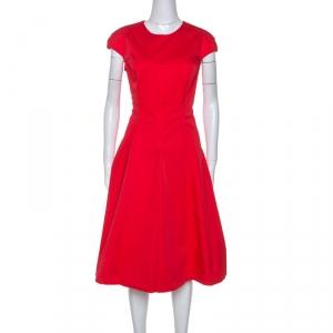 Christian Dior Coral Pink Stretch Cotton Midi Dress L