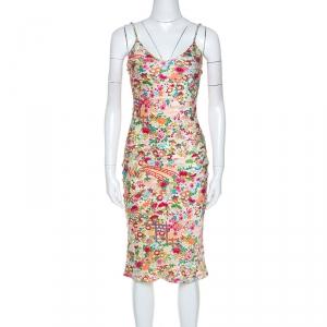 Christian Dior Multicolor Floral Print Silk Slip Dress S - used