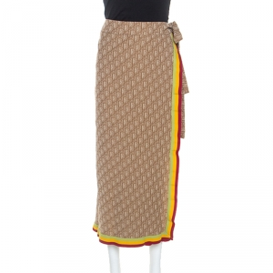 Dior Brown Stretch Knit Diorissimo Print Wrap Skirt S