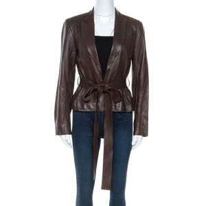 Christian Dior Boutique Brown Leather Belted Jacket M