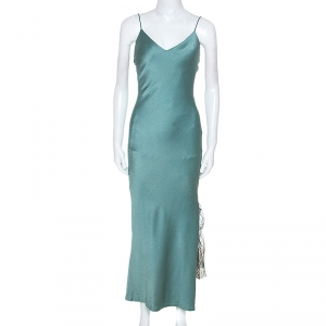 Christian Dior Teal Crepe Contrast Lace Insert Slip Dress L - used