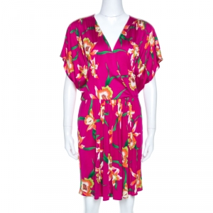 Dior Fuschia Floral Printed Silk Mini Dress L - used