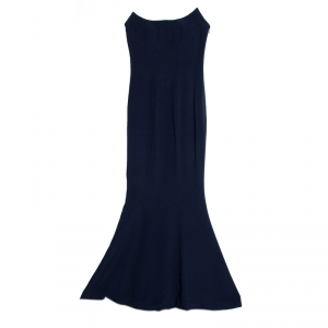 Dior Boutique Navy Blue Crepe Strapless Gown S used