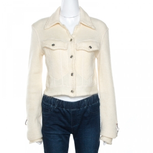 Dior Boutique Vintage Off White Mohair Cropped Jacket M