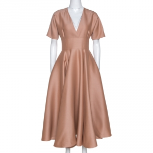 Dior Peach Wool and Silk Flared Midi Dress M