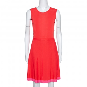 Dior Red Knit Pleat Detail Belted Sleeveless Dress M