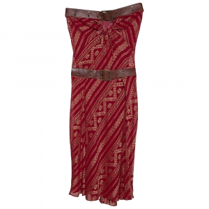 Christian Dior Boutique Maroon Brocade Belted Strapless Dress S - used