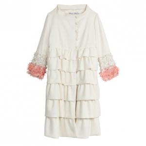 Christian Dior Cream Ruffled Embellished Sleeve Coat M