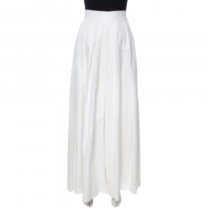 Dior White Textured Cotton Pleated Palazzo Pants L
