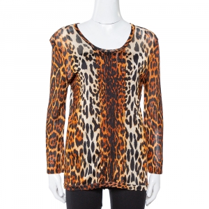 Dior Brown Leopard Print Knit Pleat Front Top L