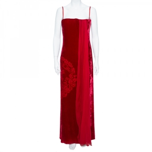 Christian Dior Boutique Red Devoré Velvet Chiffon Draped Gown XL used