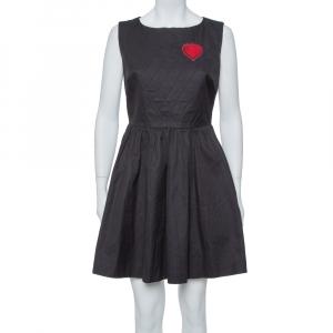 Dior Black Gabardine Heart Embroidered A Line Dress M - used